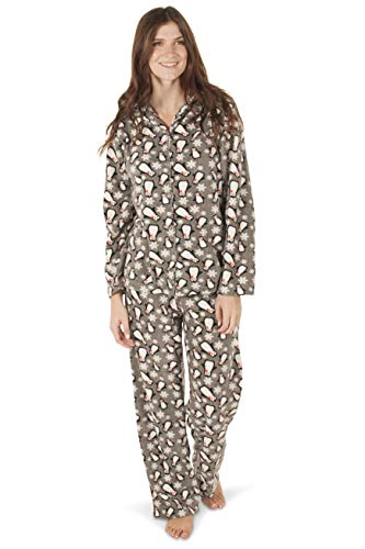- Totally Pink Women's Warm and Cozy Plush Fleece Winter Two Piece Pajama Set Teen and Girls (Large, Penguins)