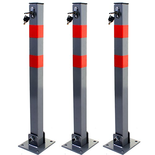 PROGEN Heavy duty Car Parking Folding locking Barrier Bollard for Driveways Vehicles and Security Posts car safety with reflective red stripes with 3 keys for barrier 3