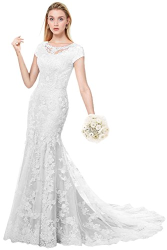 MILANO BRIDE Modest Wedding Dress For Bride Short Sleeves Sheath Floral Lace-4-Pure ()
