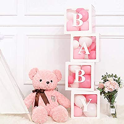 Baby Shower Balloon Boxes │50 FREE Balloons Included - Blue, Pink, White, Silver│Premium Set Of Letter Display Blocks For Baby, Girl, Boy │Perfect Party Favor Accessories Kit For Gender Reveal, Bridal Shower, Birthday Party,