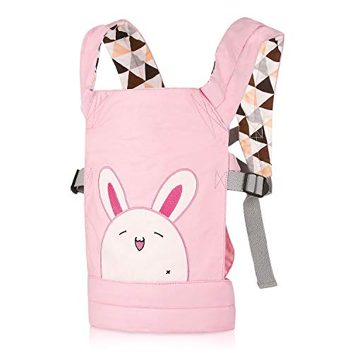 CUBY Doll Carrier Front and Back Soft Cotton for Kids Boys Girls Over 18 Months, Rabbit - Pink