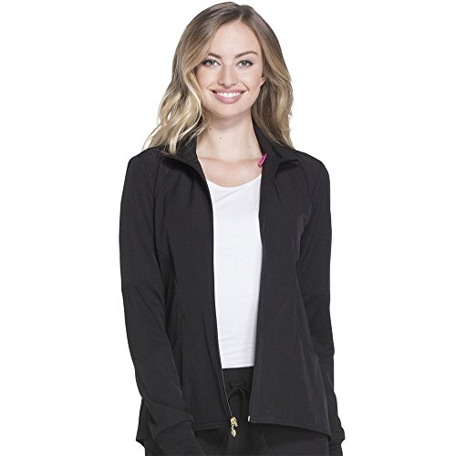 HeartSoul Scrubs Women's HS315 Heart-Warming Knit Panel Zip Front Jacket- Black- X-Small