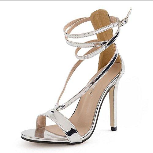 MZG Sandalias femeninas de alta sandalias de plata con la correa cruzada del partido de cena 100 zapatos de vuelta , silver , 36