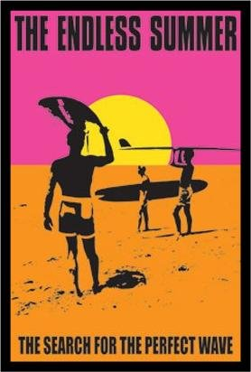 (FRAMED Classic Endless Summer 36x24 Movie Art Print Poster Wall Decor Surfing Surfboards Beach Sunset orange Pink and Yellow)