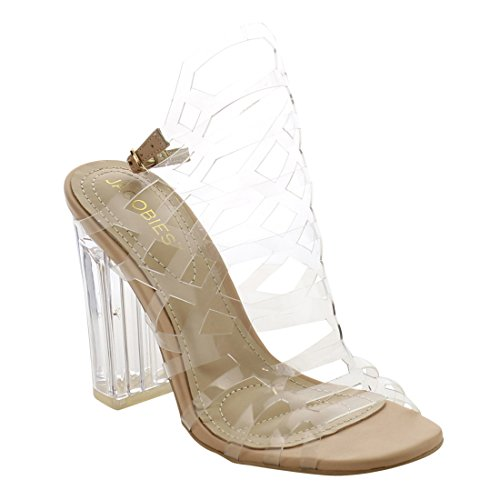 JACOBIES Womens Clear Lucite Slingback