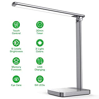 LED Desk Lamp with USB Charging, Eye Caring Desk Light Touch Control 6 Brightness & 3 Colors, 30min Timer, Memory Function Table Light for Home Office Work Reading Study, Space Gray