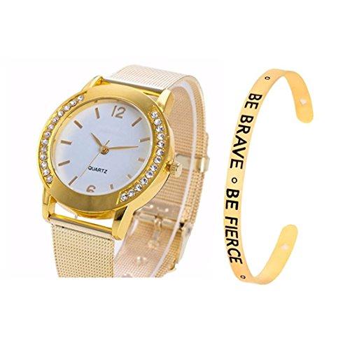Loweryeah Women 2 Pcs Quartz Watch Cuff Engraved Bangle Bracelet Set Watch with Mesh Band (Gold Color 2)
