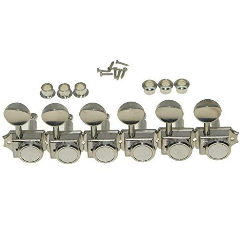 KAISH 6 Inline Guitar Vintage Style Locking Tuners Guitar Tuning Keys Guitar Lock Machine Heads for Strat Tele Nickel