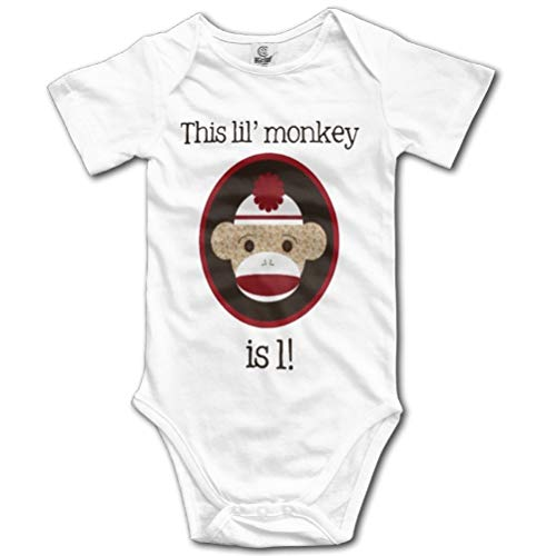 SHUNLEI Red and Brown Sock Monkey First Birthday Kids Girls Cute Baby Onesie Outfits