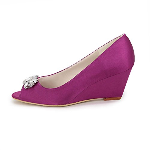 Blue YC White Sandals Red Party Blue Toe Shoes Evening Women's Peep purple amp; Low Silver Wedding Heel L 4wACqqg
