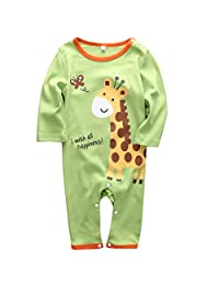 Infant Boys Girls Animal Pattern Print Long Sleeve Romper Onesie for 0-18months