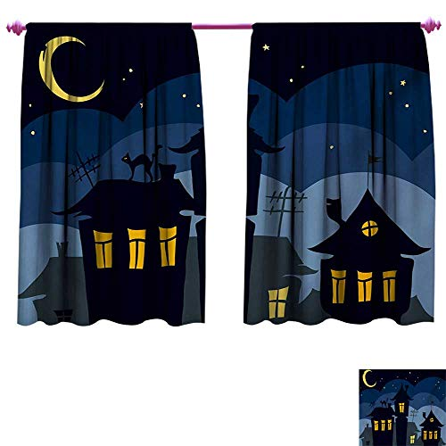 cobeDecor Halloween Blackout Draperies for Bedroom Old Town with Cat on The Roof Night Sky Moon and Stars Houses Cartoon Art Window Curtain Fabric W63 x L63 Black Yellow Blue ()
