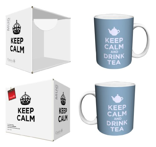 Keep Calm and Drink Tea Blue Novelty Food Drink Girly Humor Quote Ceramic Boxed Gift Coffee (Tea, Cocoa) 11 Oz. Mug