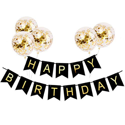 Tellpet Black HAPPY BIRTHDAY Banner with 5 pcs Gold Confetti ()