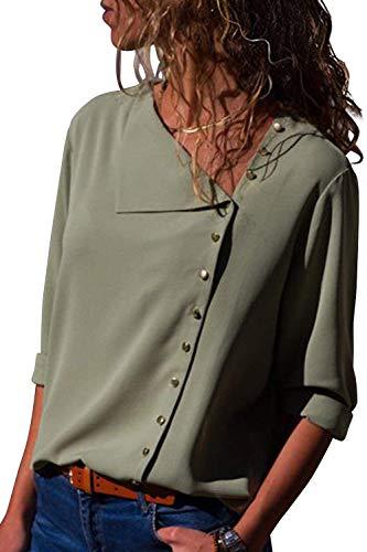 Uni Rglable Spcial Gr Chemise Chemisiers Longues Simple Elgante Mousseline Boutonnage Mode Manche Femme Shirt Tops Cou Casual Style Printemps Confortable V Manches qWw7aRnA61