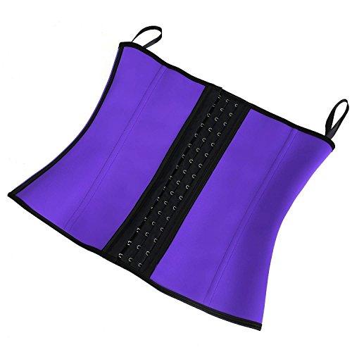 Dilanni - Corsé para mujer de látex con corchetas de acero, transpirable, para dar forma a la cintura morado