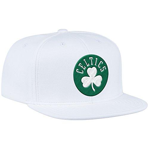NBA Boston Celtics Men's ZNE Flat Brim Snapback Cap, One Size, White (Hats Celtics)