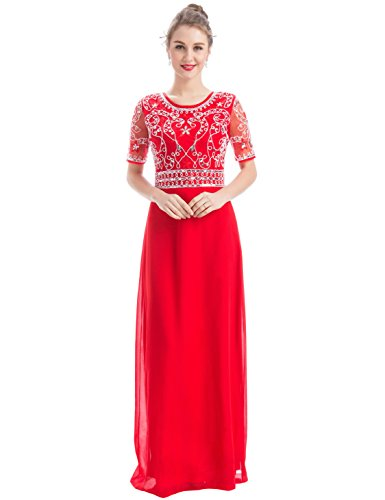 MANER Women Chiffon Beaded Embroidered Sequin Long Gowns Prom Evening Bridesmaid Dress (XL, Red)