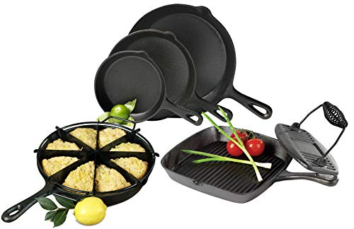 Tabletops Basic Essentials Pre Seasoned Cast Iron Cookware, 7pc Cast Iron Complete Chef Set
