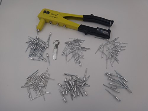 150 pc Pop Riveter Gun Set Blind Rivet Hand Tool Kit Gutter Repair Heavy Duty - Blind Hole Rivets