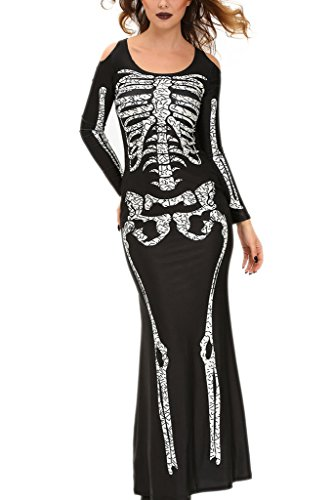 Chase Secret Womens Skeleton Bone Skin Adult Costume Long Dress Large Black (Black Dress Halloween Costumes)