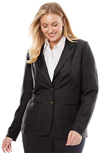 Jessica London Women's Plus Size Single-Breasted Linen Blazer - Fully Blazer Classic Lined