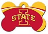 Personalized Laser Engraved 1.5 x 1 inch Iowa State Cyclones Bone Shape Pet ID Tag - Free Tag Silencer