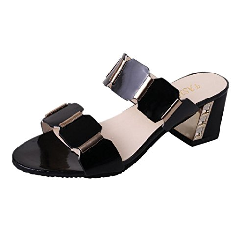 Flip Flop Glue - High Heels Sandals Fish Mouth Slipper Antiskid Toes Party Shoes Flip Flops Jushye (38, Black)