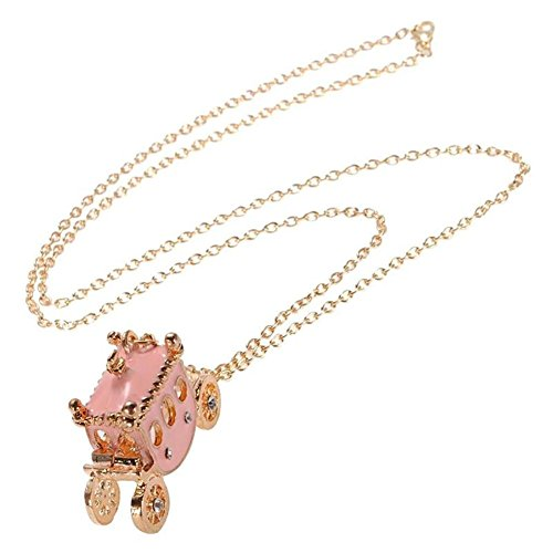 KeyZone Lady New Rhinestone Light Pink Small Pumpkin Carriage Princess Pendant Necklace Stocking Stuffers for Women Xmas Gift (Rhinestones Pumpkin)