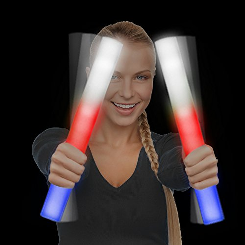 Fun Central 6 Pack - LED Foam Stick Baton Supreme - Patriotic - Red, White, Blue