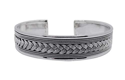 joy-nin 925 Sterling Silver Antique Carved Open Men Bangle Cuff Bracelet