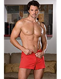 Red polyester knit boxer short