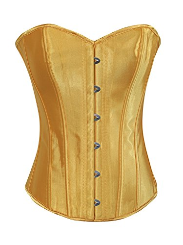 Yellow Corset (Chicastic Yellow Satin Sexy Strong Boned Corset Lace Up Bustier Top - X-Large)