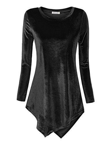 BaiShengGT Women Velvet Tunic Top Casual High Stretchy Long Sleeve Loose Blouse Shirt Medium Black (Tunic Jersey Velvet)