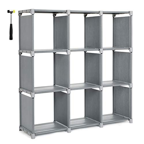 (SONGMICS 9 Cube DIY Cube Storage Shelves Open Bookshelf Closet Organizer Rack Cabinet Gray ULSN45GY)