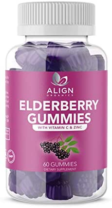 Elderberry Gummies- Sambucus Nigra with Zinc and Vitamin C- Gluten Free and Vegan- Immune Support-Relief from Cold and Allergies-Antioxidant Support- 60 Gummies