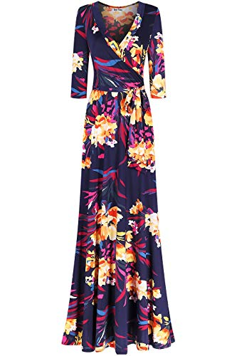 Bon Rosy Women's MadeInUSA 3/4 Sleeve V-Neck Printed Maxi Faux Wrap Floral Dress Summer Wedding Guest Party Bridal Baby Shower Maternity Nursing Navy S