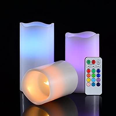 """Candle Set 3pc with Remote Timer Realistic Flameless Home and Kitchen Decor led Electric Real Wax Candles Tealight Pack Battery Operated 3"""" 4"""" 5"""" 12 Colours Changing Make Romace Flikering Night Light"""