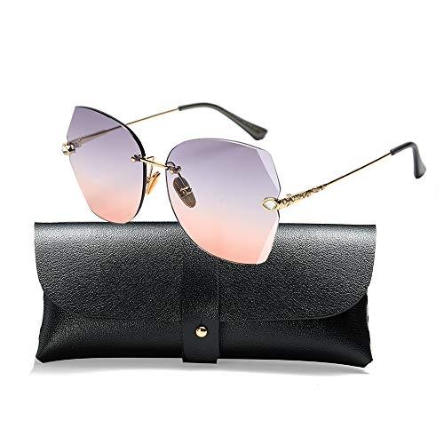 (SOSUSHOE Sunglasses For Women Oversized Rimless Diamond Cutting Colorful Lens Fashion)