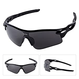 GOTSC Polarized Sports Sunglasses for men women Cycling running driving Baseball Fishing Golf Superlight Frame (Black3)