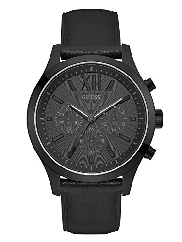 GUESS  Smooth Genuine Leather Chronograph Watch with Date. Color: Black (Model: U0789G4) (Chronograph Leather Genuine)