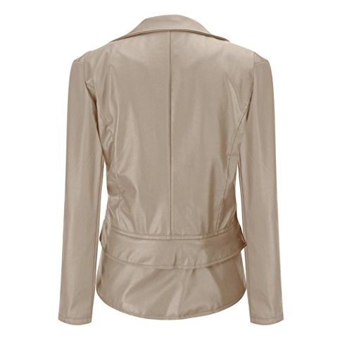 Beige Zipper Coat Jacket Motorcycle Winter Women Leather Cardigan M HOMEBABY Slim Warm XXXL Jacket Size Lepal Outwear a04qcE