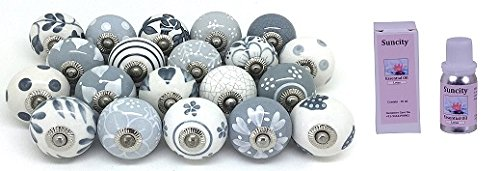Ceramic Pull Knob - 10 Knobs Grey White Hand Painted Ceramic Knobs Cabinet Drawer Pull by Karmkara 1 10 ml Lotus essential oil free
