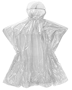 Emergency Rain Poncho with Hood - 5 White Poncho One Size Fits All - Commuter Friendly Rain Poncho Survival Kit Accessory for Travel Trailblazing Picnics Camping School Sporting Corporate Events