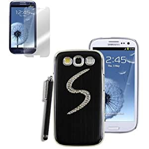 Viesrod 3 in 1 Chrome Brushed Aluminum Rigid Plastic Hard Back Case Cover For Samsung Galaxy S3 GS3 i9300 (Black) + Screen...