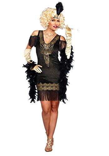 Dreamgirl Women's Swanky Flapper, Black/Gold,