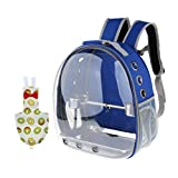 Kesoto Clear View Transport Bag Pet Parrot Outdoor Travel Backpack, with Reusable Bird Nappy Diaper Urine Pad - Kiwi Pattern Cockatiels Canary (Blue)