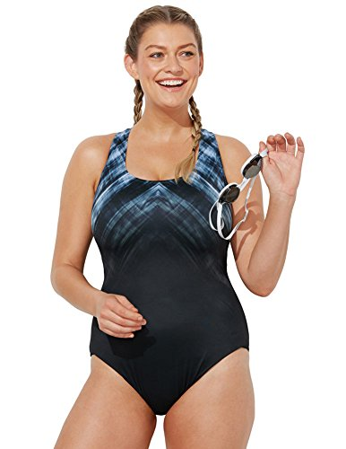 da287229543 Aquabelle Women s Plus Size Chlorine Resistant Vapor X-Back Swimsuit 22 Grey