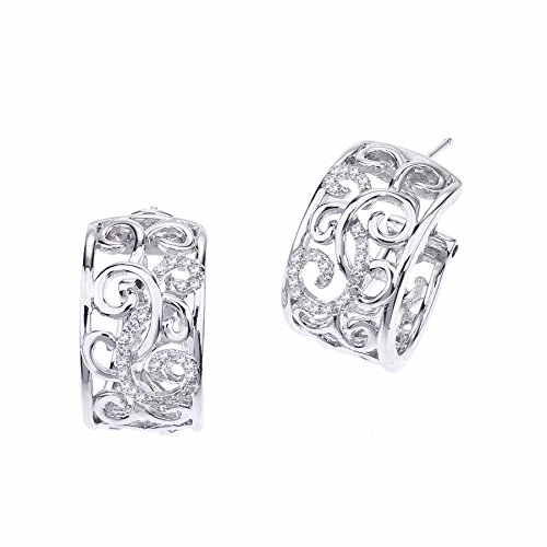 Diamond Huggie Earrings in Sterling Silver (0.25cts) by AX Jewelry
