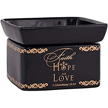 Elanze Designs Faith Hope Love Ceramic Stoneware Electric 2 in 1 Jar Candle and Wax and Oil Warmer